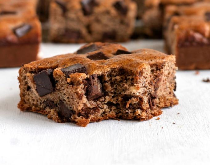 vegan paleo chocolate chunk banana bread bars