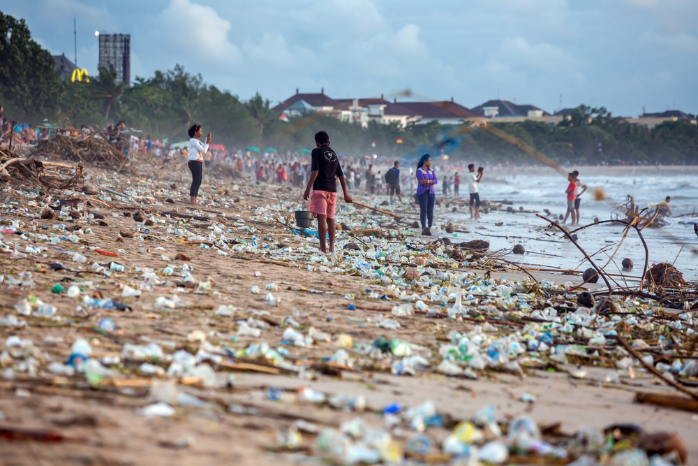 Beach in Indonesia covered in plastic waste