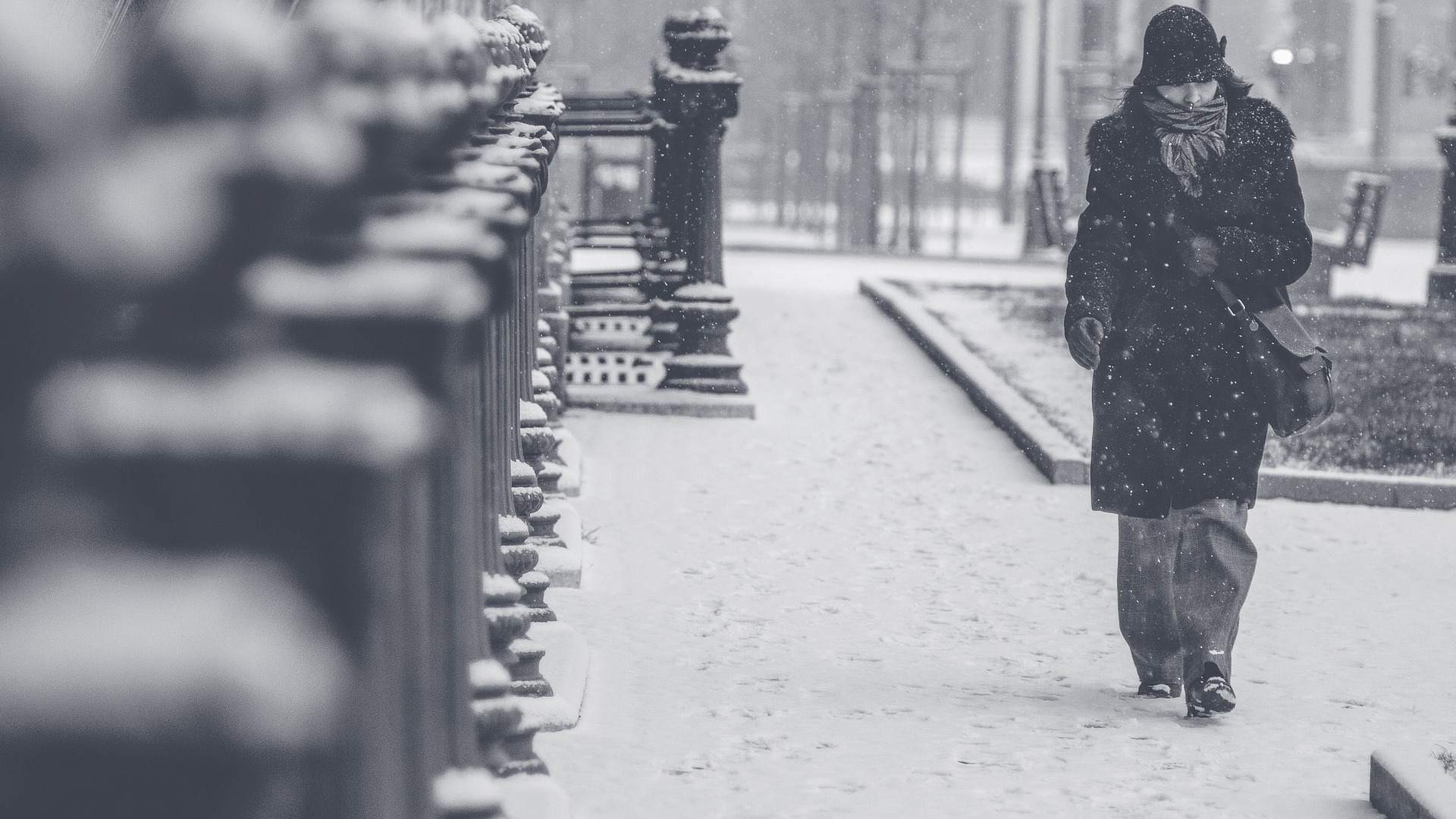 Someone walking in winter in the snow