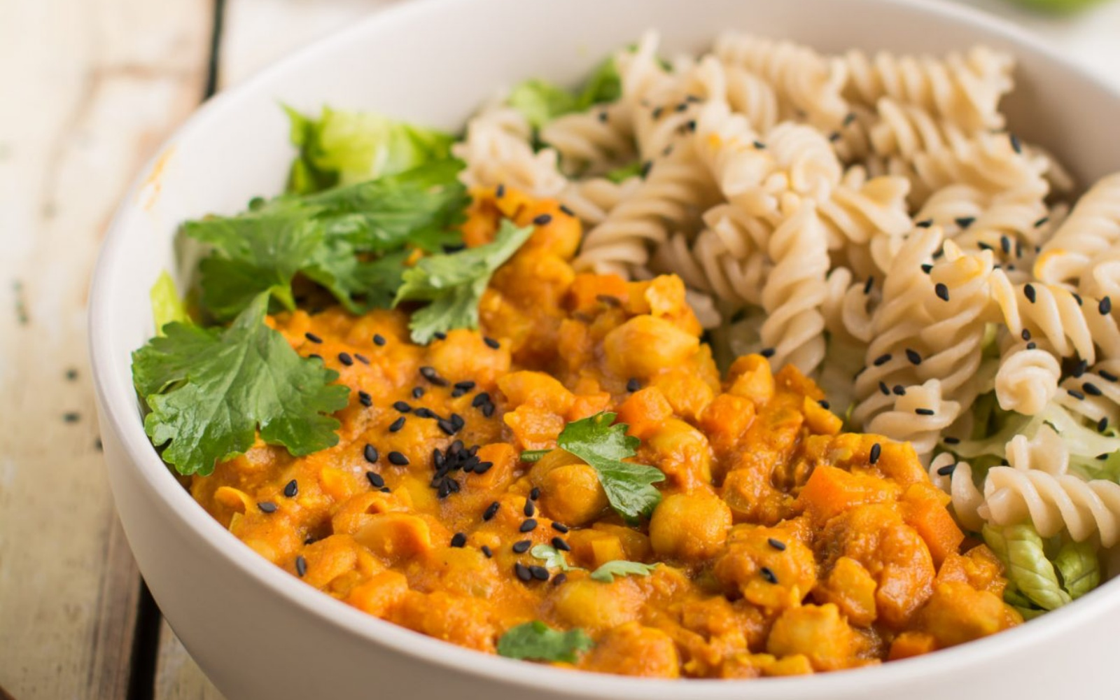 vegan chickpea curry with pasta