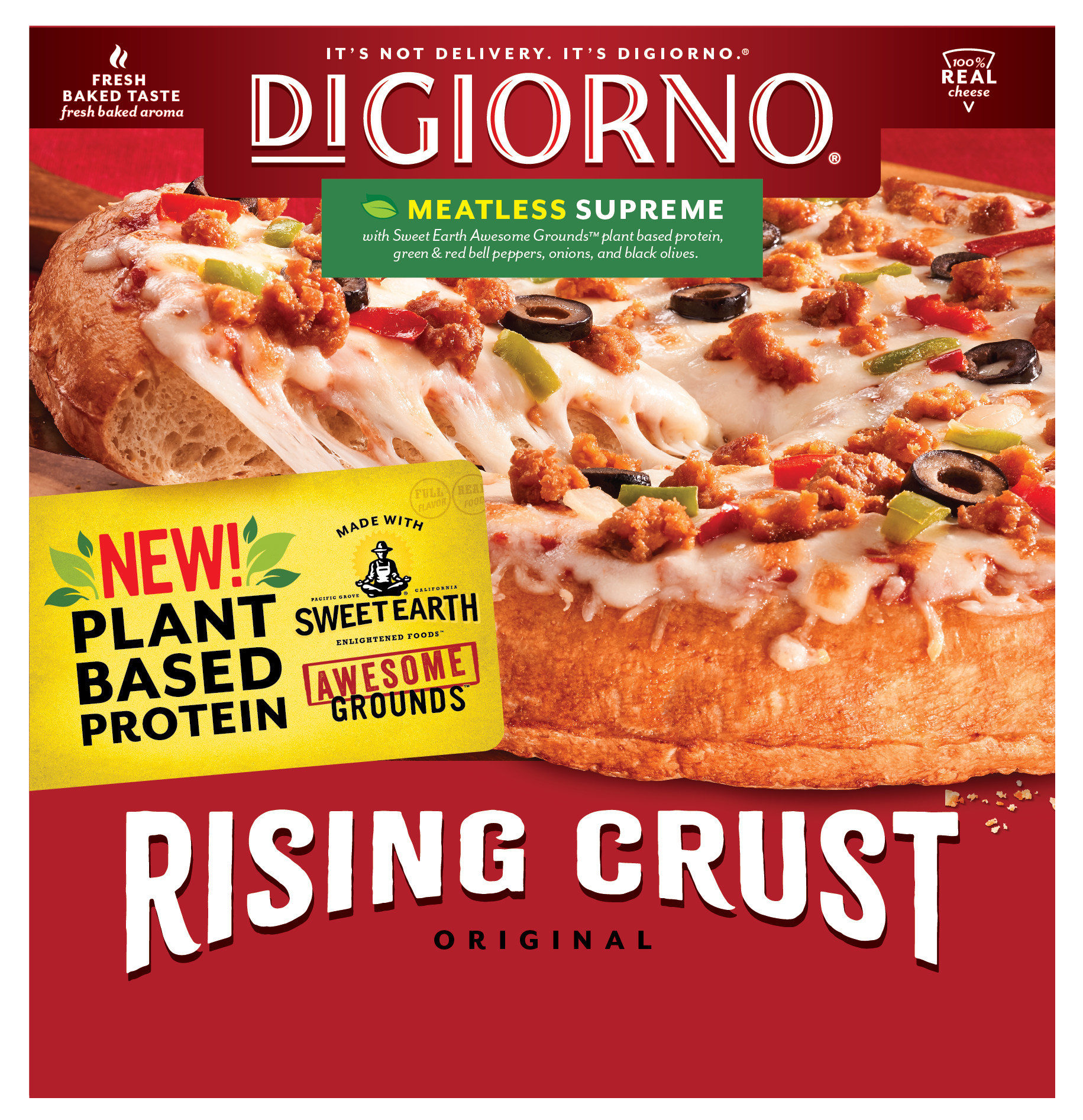 DIGIORNO Rising Crust Meatless Supreme with SWEET EARTH Awesome Grounds.