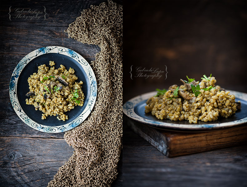 Vegan Risotto with Mushrooms and Turmeric