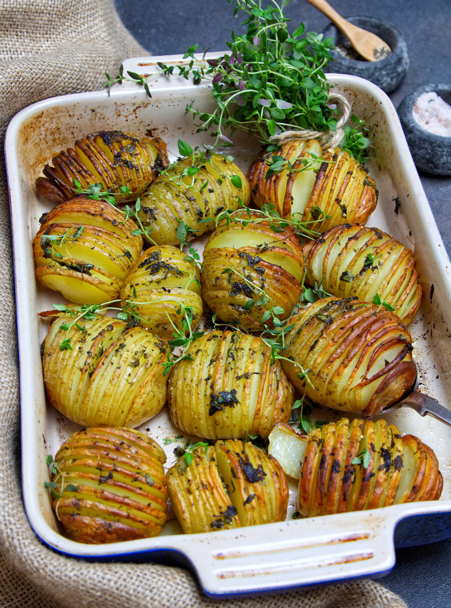 Thyme-Infused Hasselback Potatoes