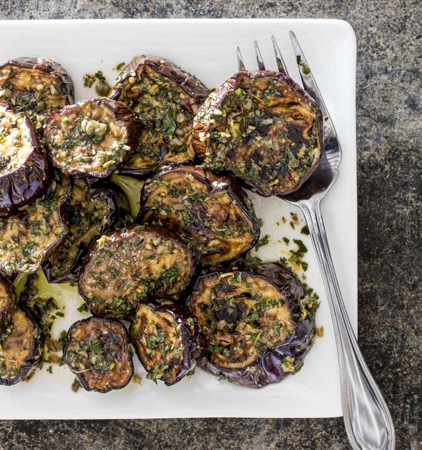 Vegan Marinated Eggplant with Capers and Mint