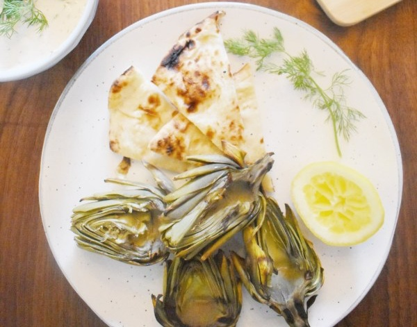 vegan grilled artichokes with dip