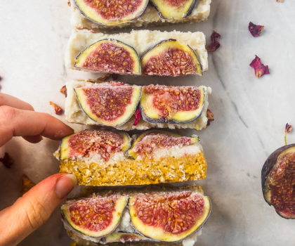 vegan salted caramel and fig cheesecake bars