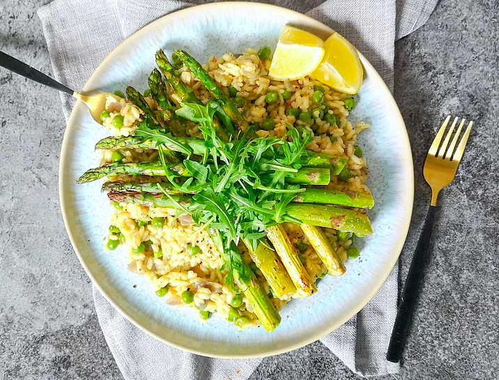 vegan pea and roasted asparagus risotto