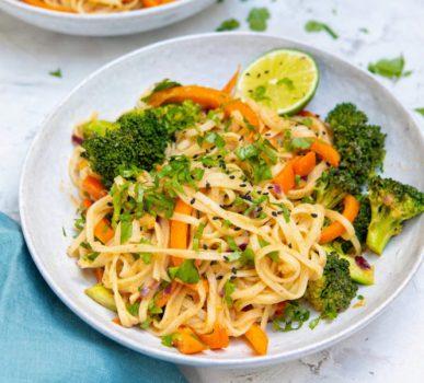 vegan satay sauce noodles