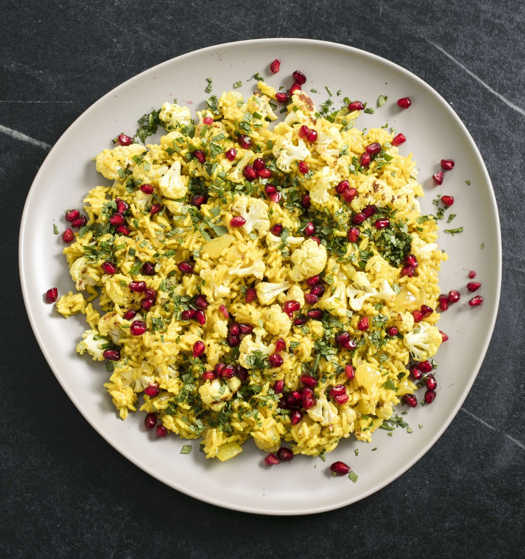 Vegan Spiced Basmati Rice with Cauliflower and Pomegranate