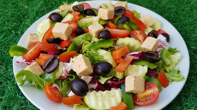 Vegan Greek Salad With Homemade Feta Cheese