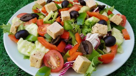 Greek Salad WithVegan Homemade Feta Cheese