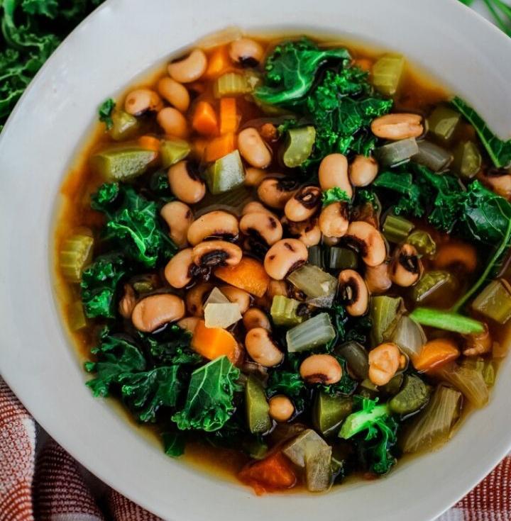 Vegan black eyed pea soup with kale