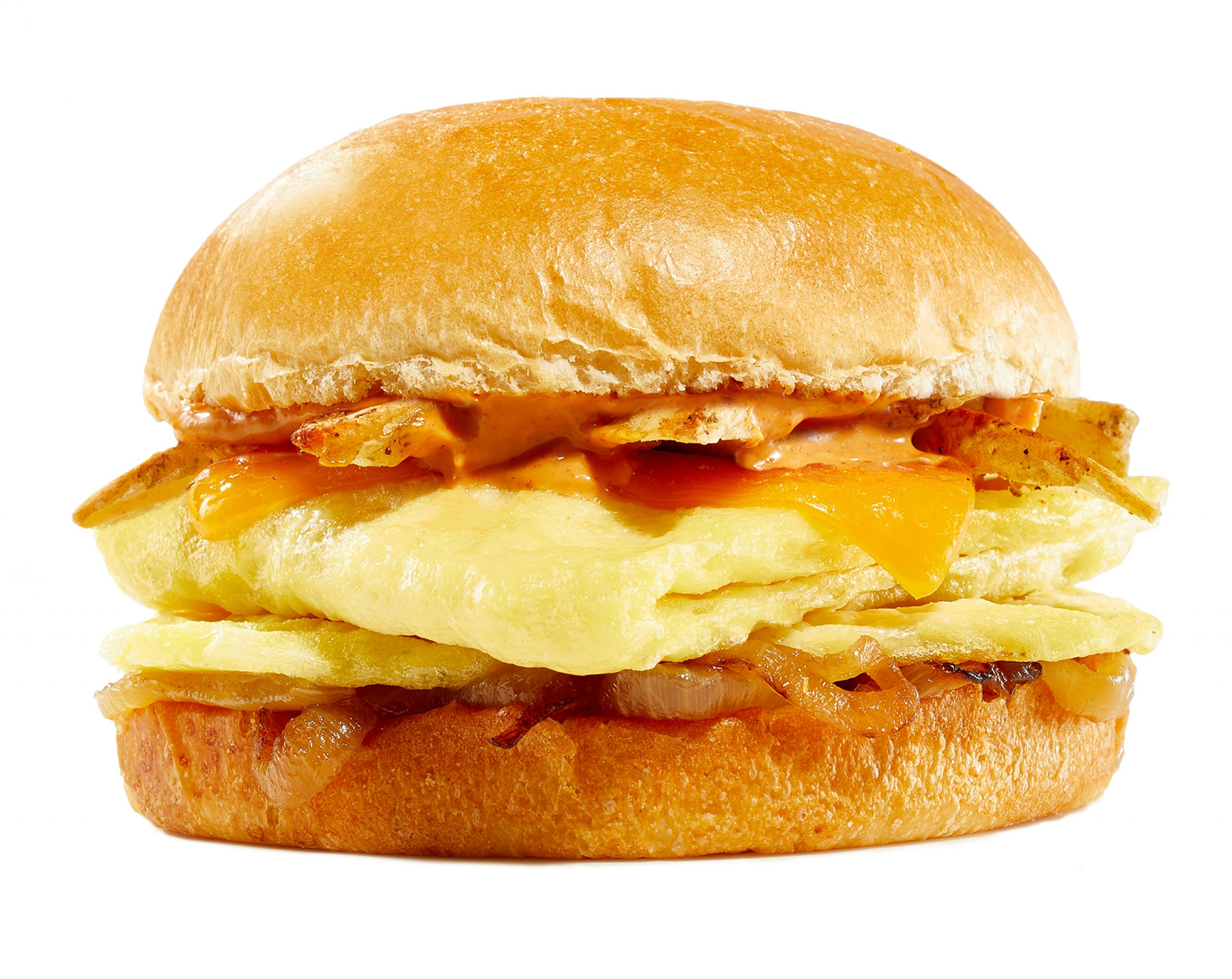 Fluffy, folded egg in sandwich