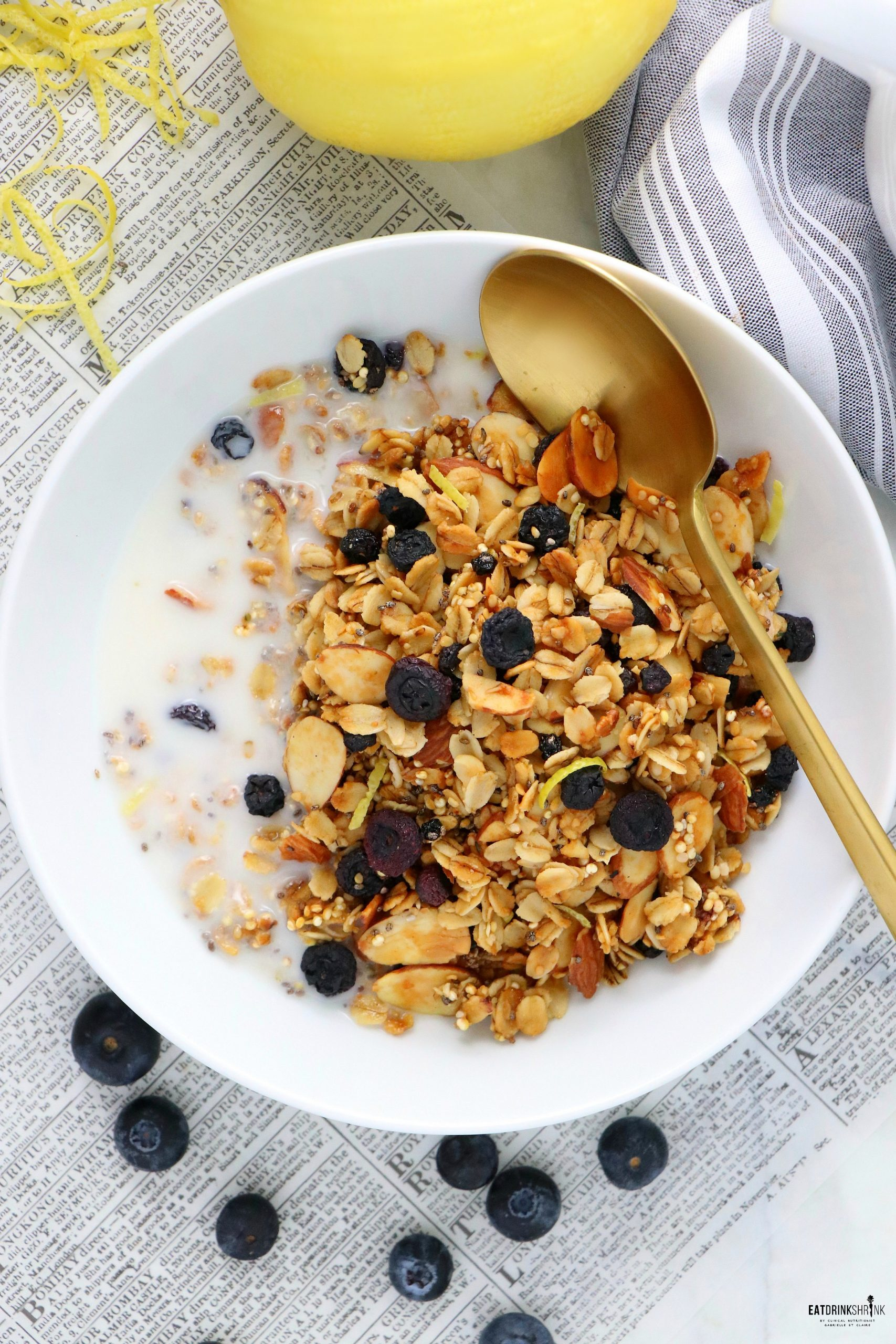 Vegan Lemon Blueberry Superfood Granola