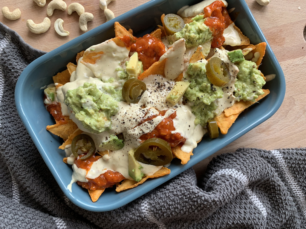 Healthy Creamy Nacho Cheese Sauce and Nachos Vegan