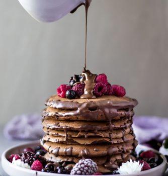 vegan gluten free chocolate banana pancakes