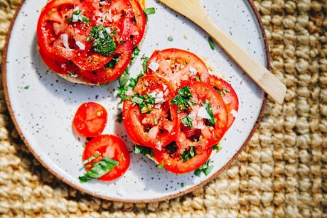 BREAKFAST BAGELS with TOMATOES and BASIL