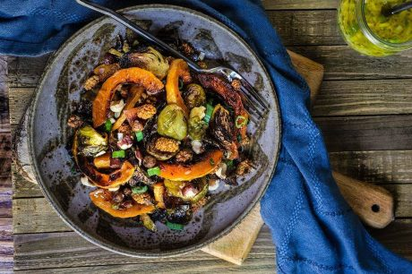 Roasted Brussels Sprouts and Squash Salad with Horseradish Dressing Vegan