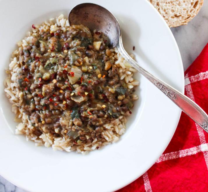 Vegan hearty mung bean and lentil stew