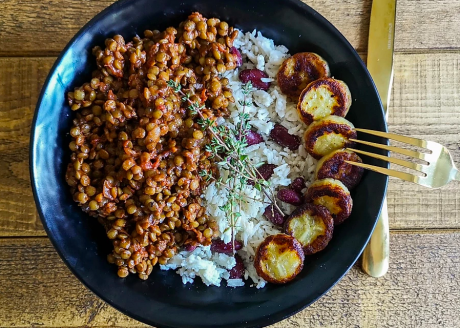vegan Jerk Lentils With Coconut Rice and Fried Banana
