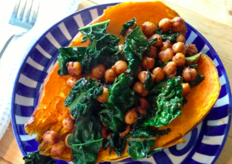 Vegan Smoky Chickpeas and Kale Over Baked Sweet Potatoes