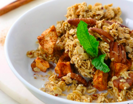 Vegan Apple Pie Granola with Toasted Pecans and Quinoa