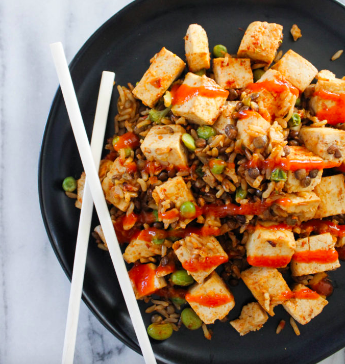 Vegan Easy Sheet Pan Fried Rice and Tofu