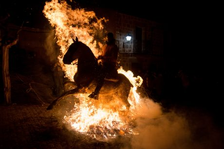 Las Luminarias festival of horse forced to ride through fire