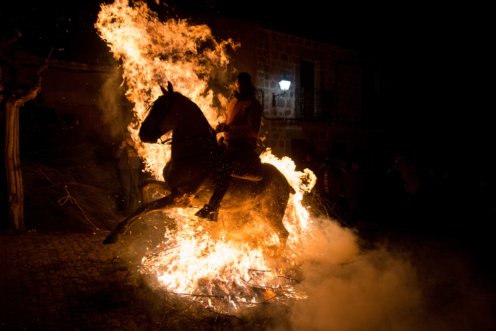 Las Luminarias festival of horse forced to ride through fire