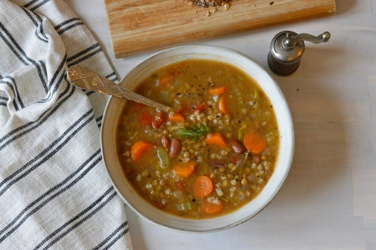Brown Lentil, Bean, and Rice Soup