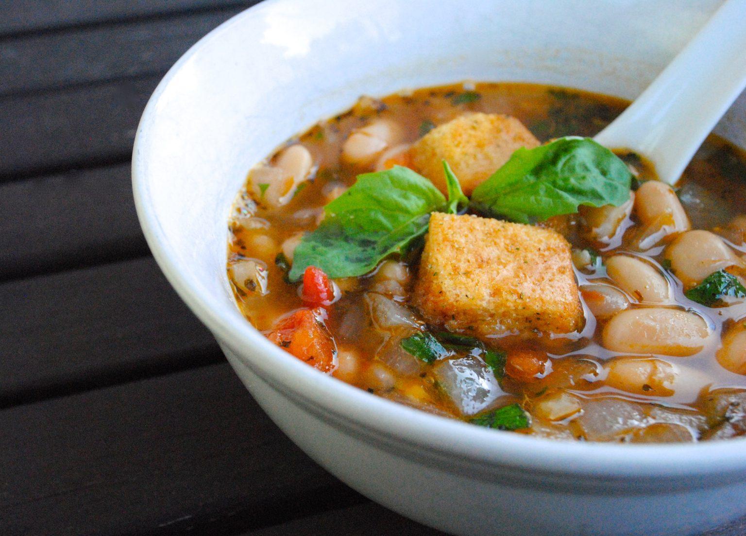 Vegan White Bean Basil Soup