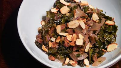 Braised Kale and Onion Almondine
