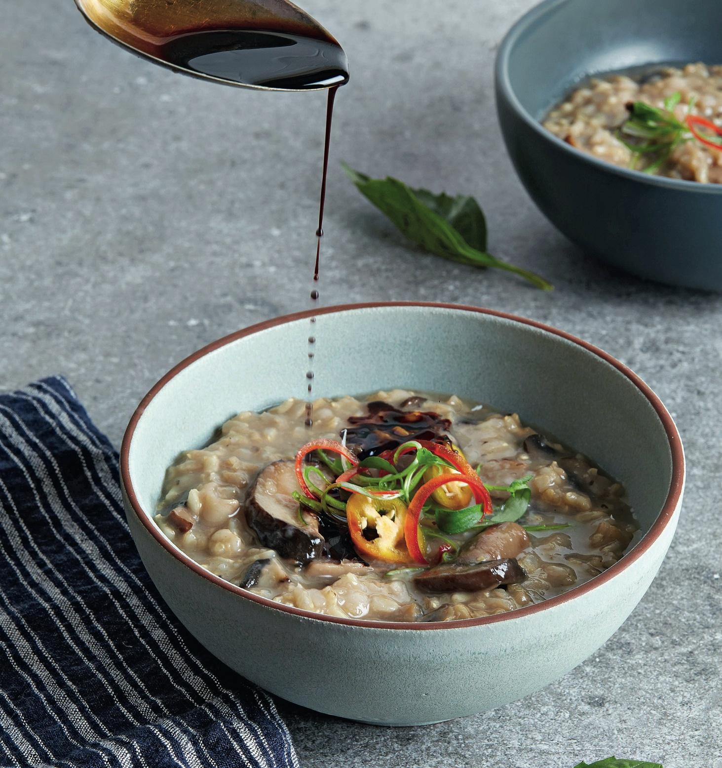 Slow Cooker Shiitake Congee (Rice Porridge)