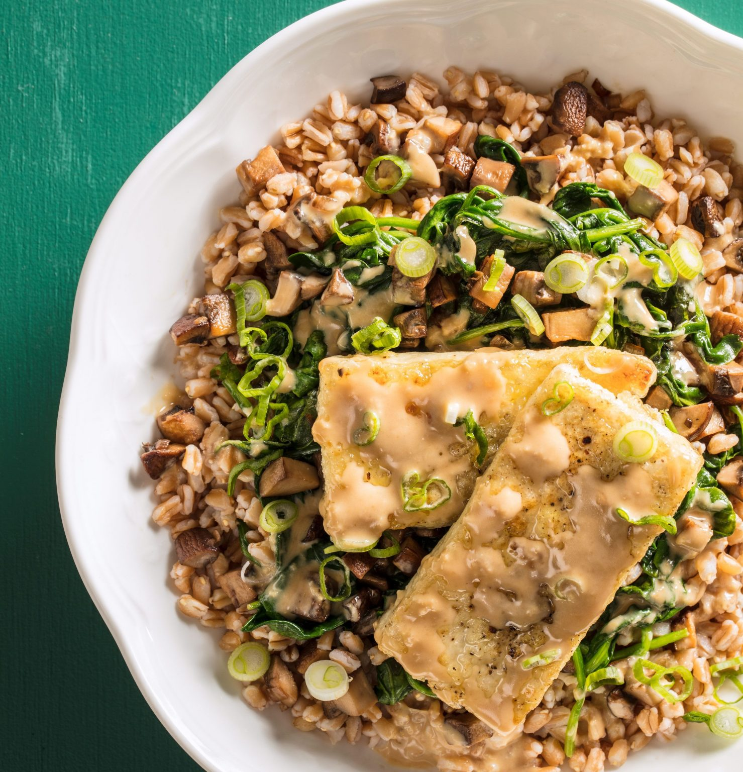 Vegan Farro Bowl with Tofu, ­Mushrooms, and Spinach