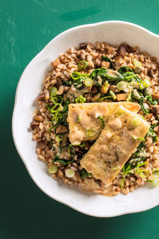 From Farro Bowl with Tofu, ­Mushrooms, and Spinach and Peanut Butter Banana Brownies: Our Top Eight Recipes of the Day!