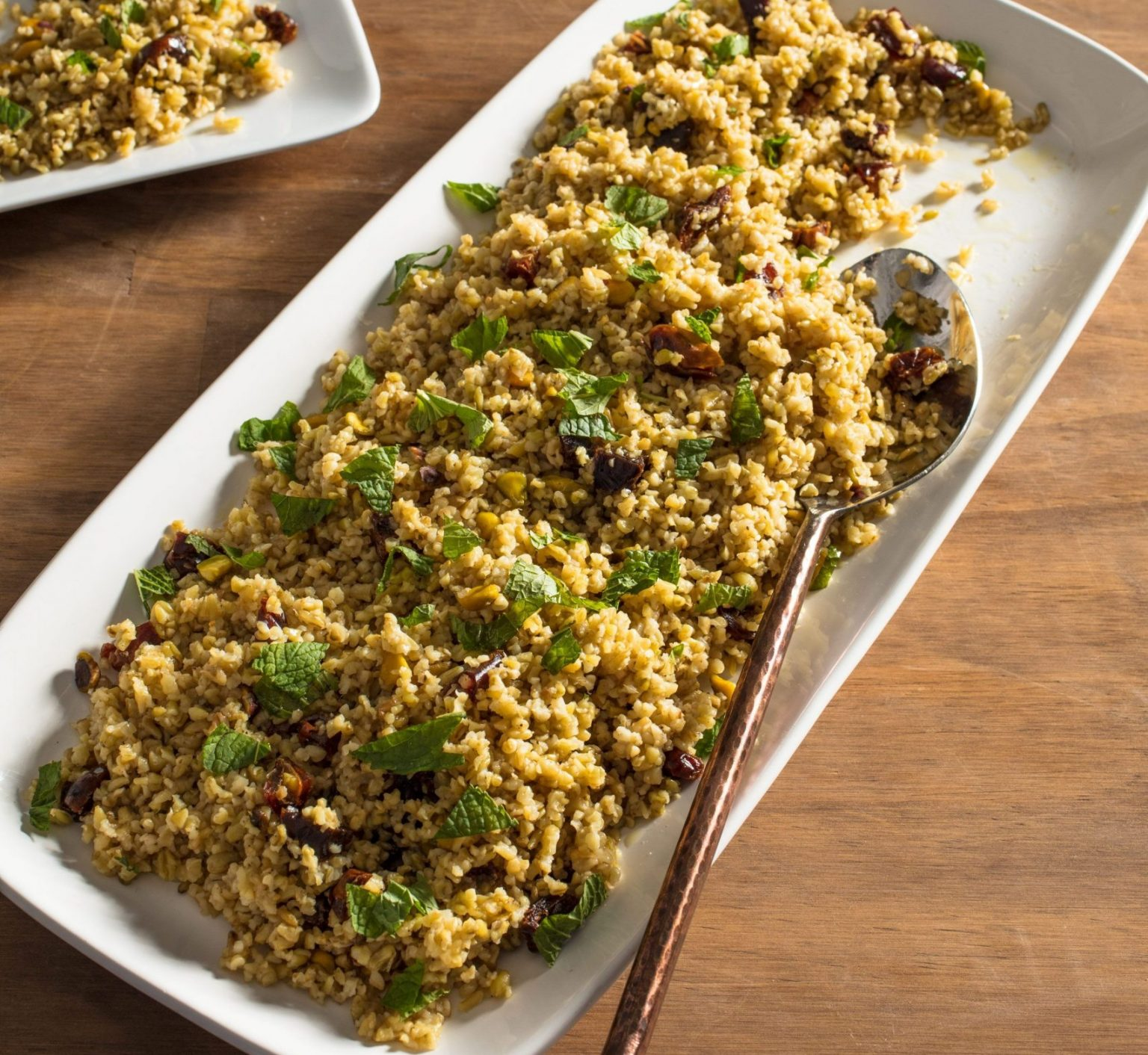 Vegan Freekeh Pilaf with Dates and Pistachios