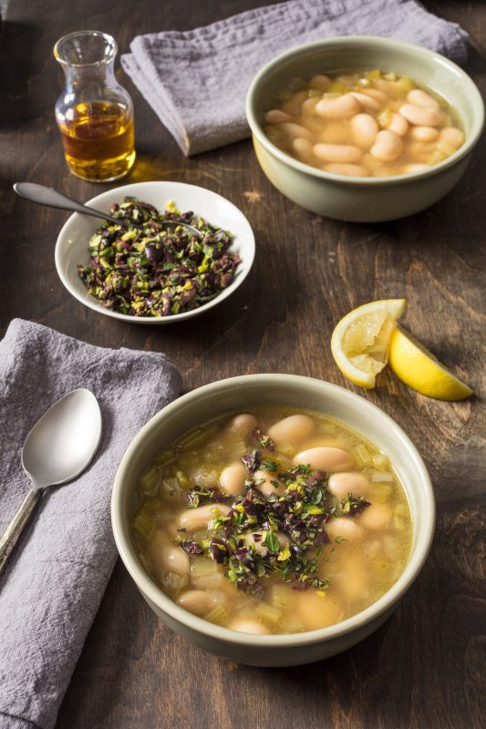 Gigante Bean Soup with Celery and Olives [Vegan]
