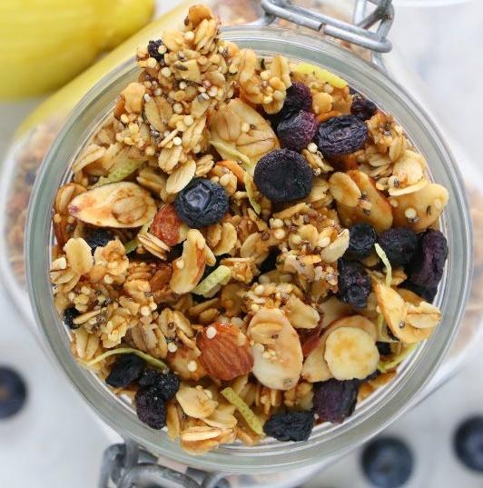 Vegan Lemon Blueberry Superfood Granola