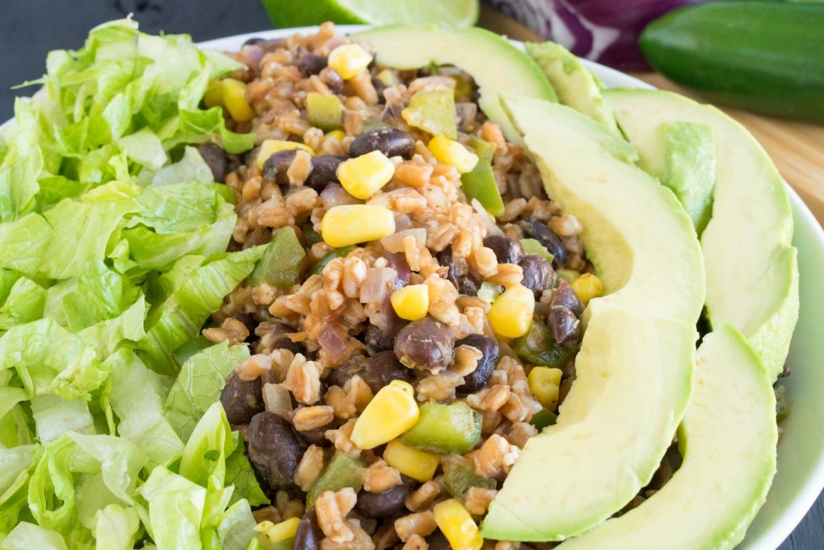 Farro Black Beans Mexican Bowl