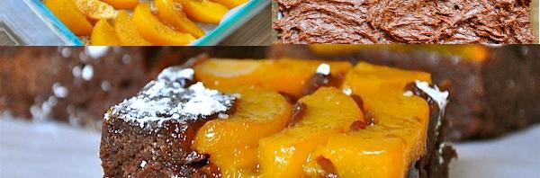 Upside Down Peach Brownies