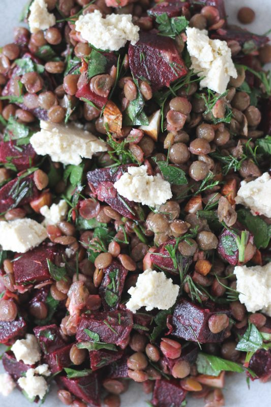 Lentil and Beetroot Salad with Tofu Feta