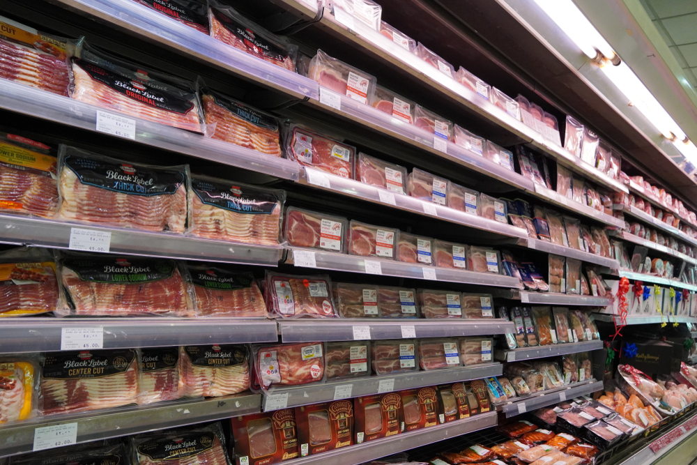 Bacon section in supermarket