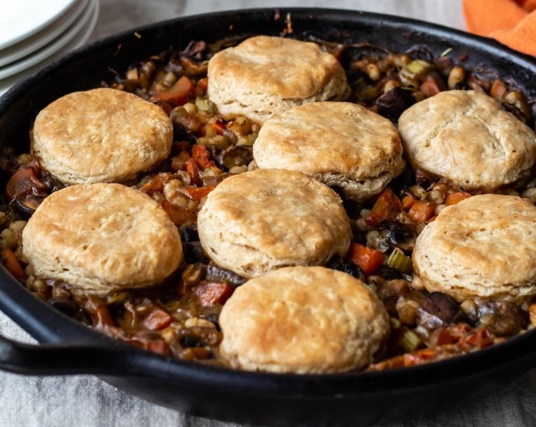 Biscuit Pot Pie with White Beans and Mushrooms