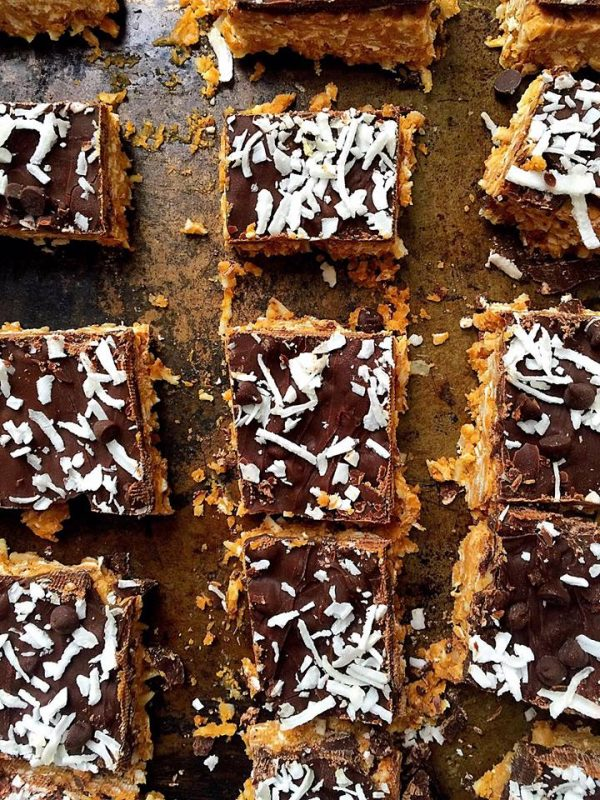 Vegan No-Bake Chocolate Peanut Butter Coconut Bars