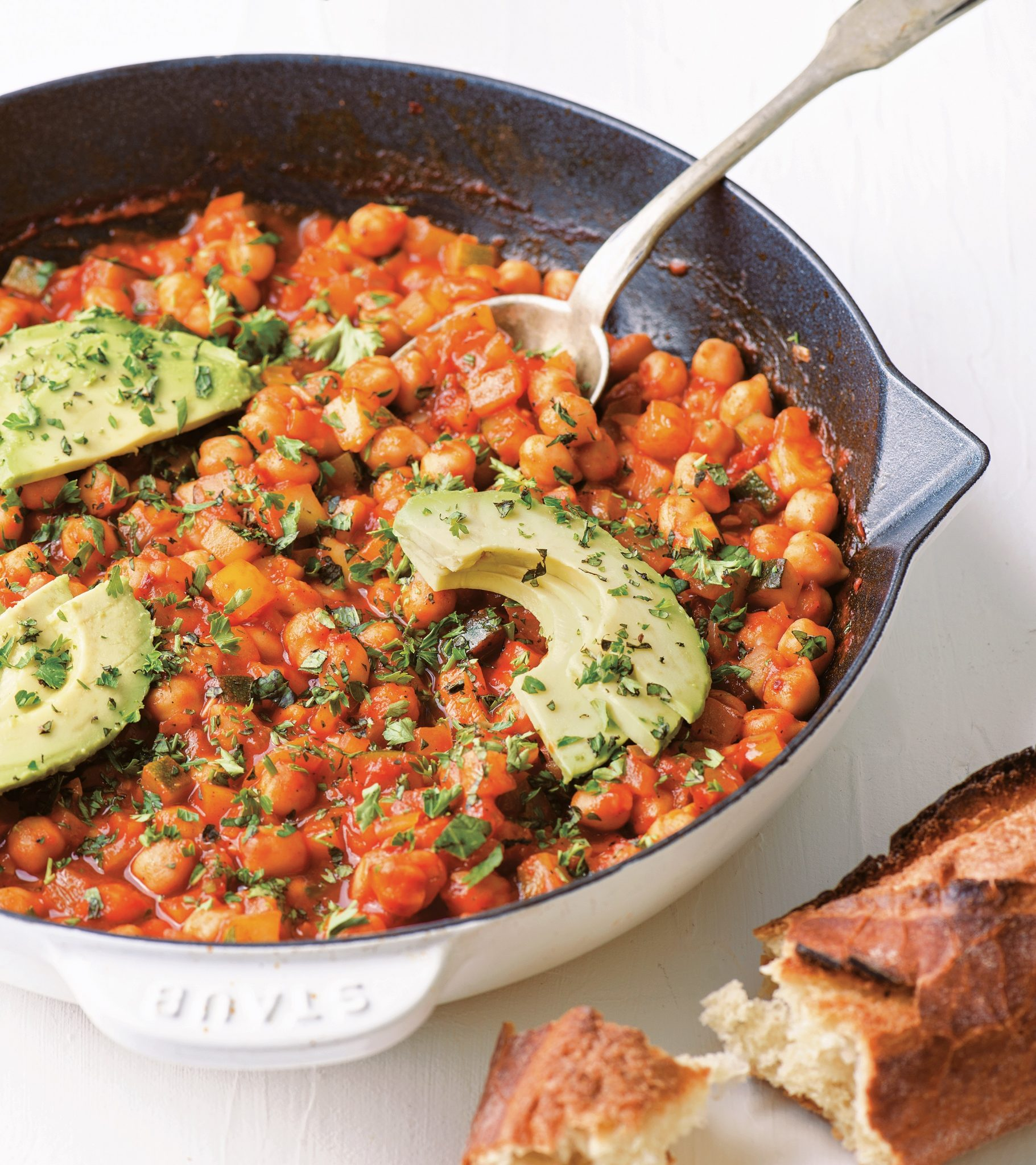 Vegan Chickpea Shakshouka with Avocados and Fresh Herbs