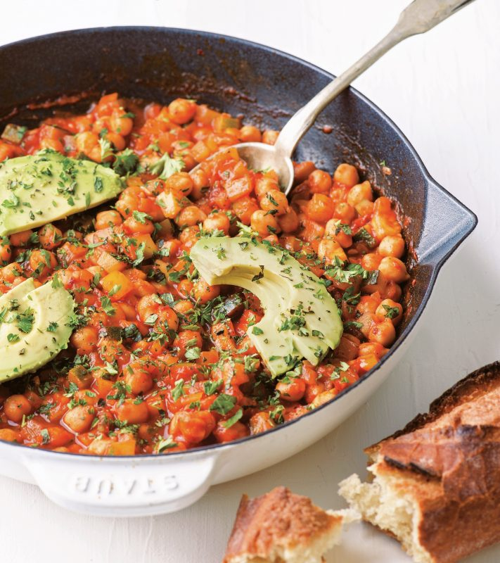 Chickpea Shakshouka with Avocados and Fresh Herbs