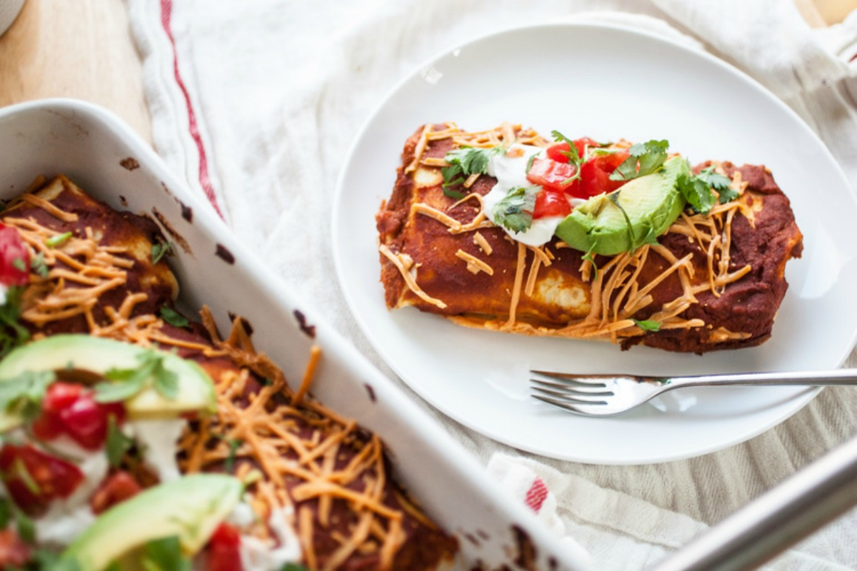 Black Bean, Corn, and Red Rice Enchiladas