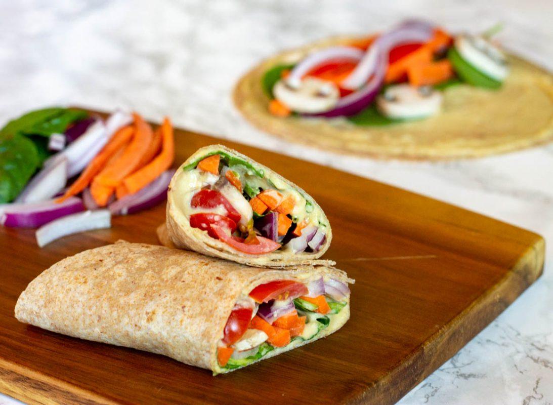 Vegan Made-In-Minutes Veggie Hummus Wrap