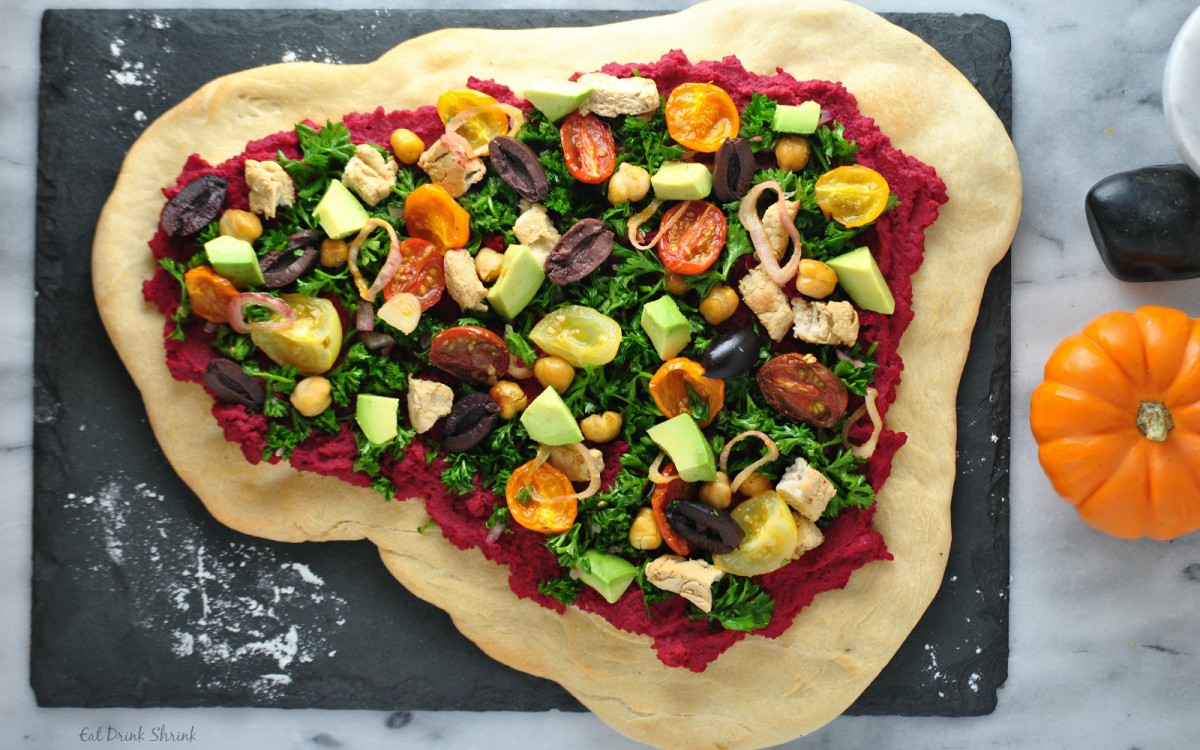 Tabbouleh and Beet Hummus Pizza