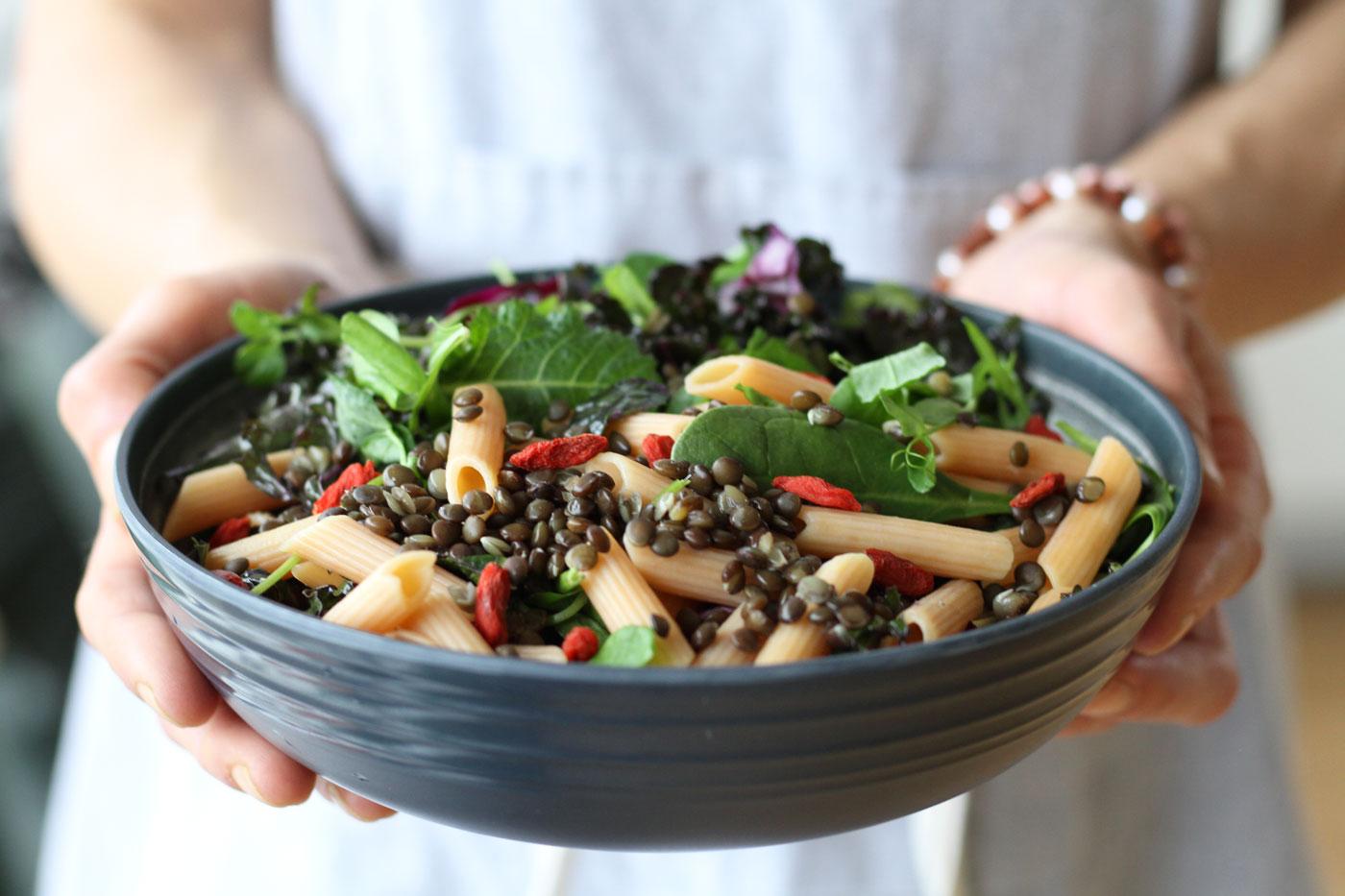 plant protein pasta salad bowl